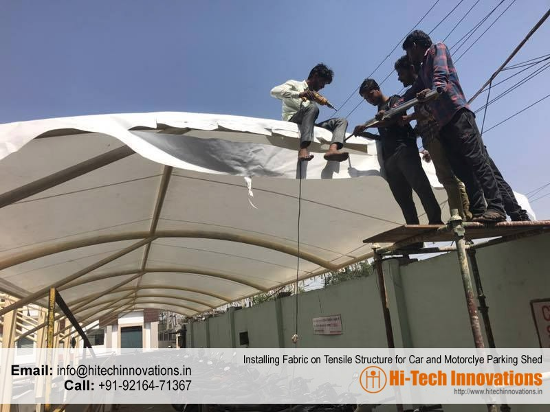 Installing Fabric on Tensile Structure