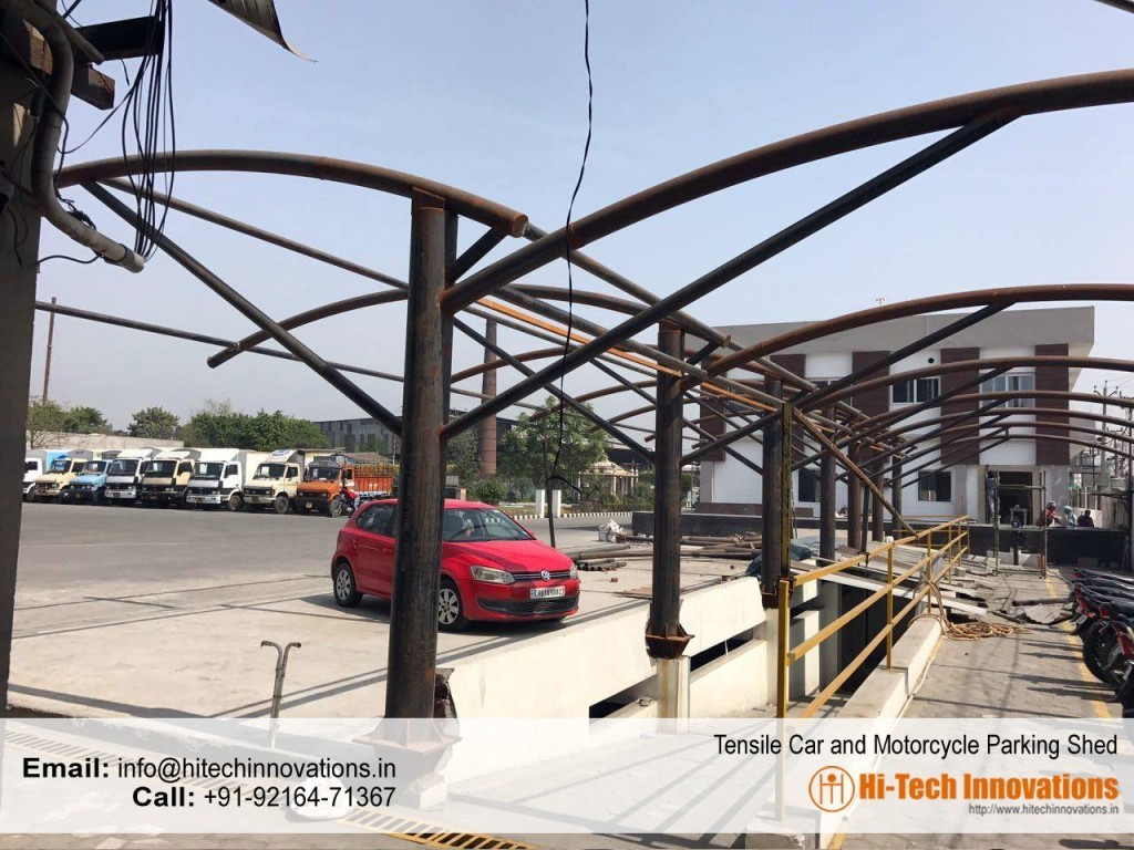 Tensile multiple car-parking structure