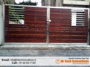Designer Steel Gate with Wood (Code 01-1482016)