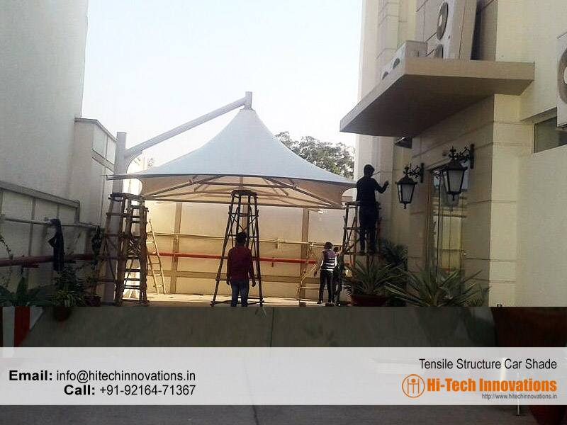 Tensile Structure being Installed in Patiala
