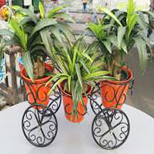 Three-Planter-Ethnic-Stand-with-3-Steel-Planters