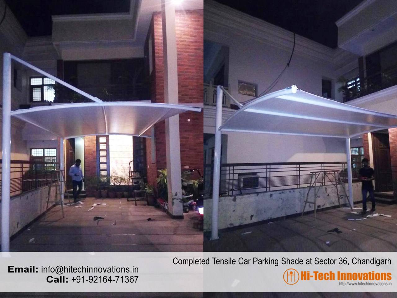 Completed Tensile Car Parking Shade in Sector-36