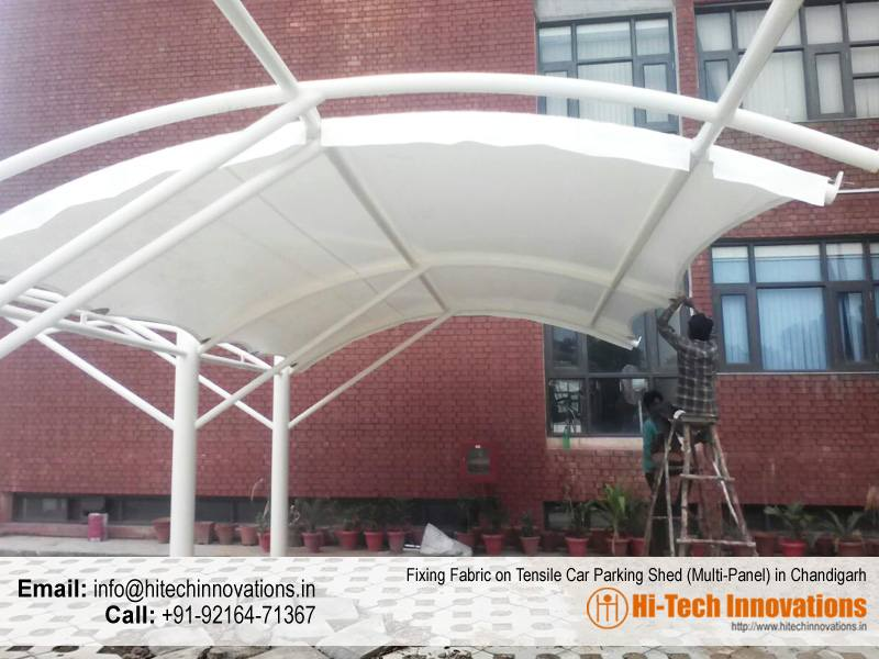 Fixing Fabric on Tensile Car Parking Shade for Multiple Cars in Chandigarh