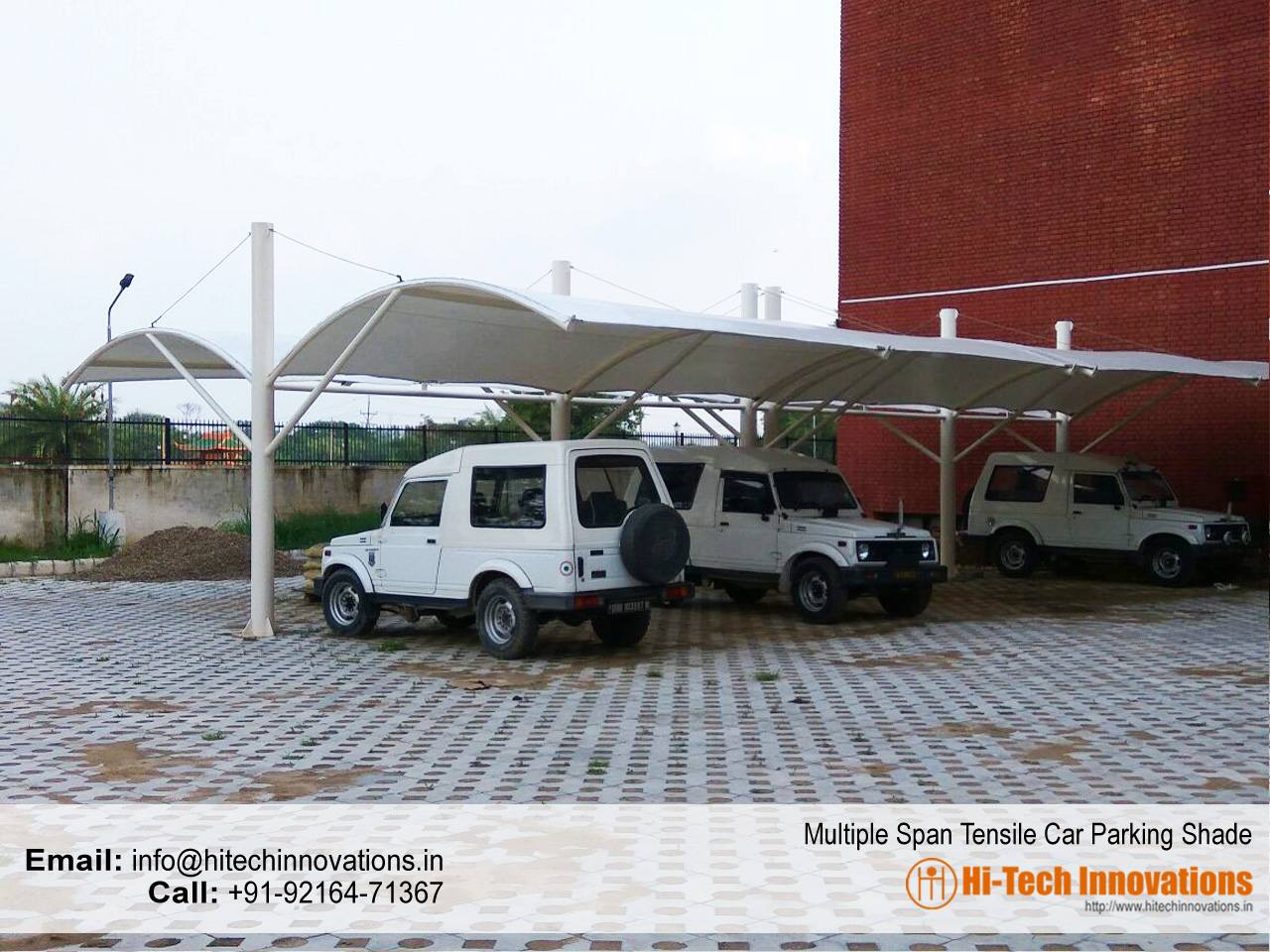 Completed Multiple Span Tensile Car Parking Shed
