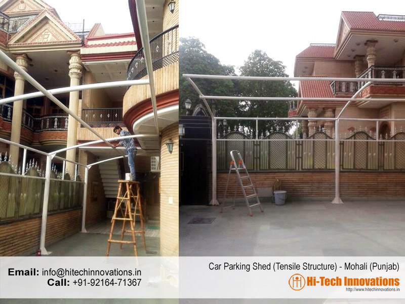 Car Parking Shed Steel Structure at Mohali - Punjab