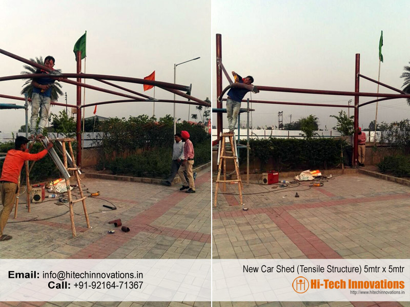 5 Meter x 5 Meter Tensile Steel Structure for Car Parking Shed