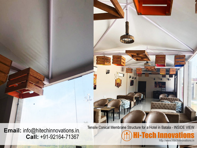 Tensile Conical Membrane Structure - Inside View