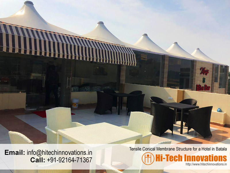 Tensile Conical Membrane Structure for a Hotel in Batala