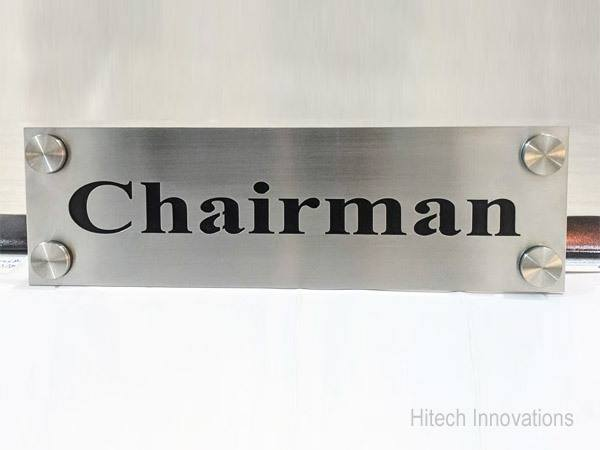 Laser Cut Steel Name Plate for Chairman