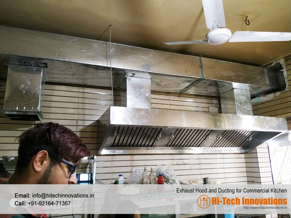 Exhaust Hood and ducting for commercial kitchen