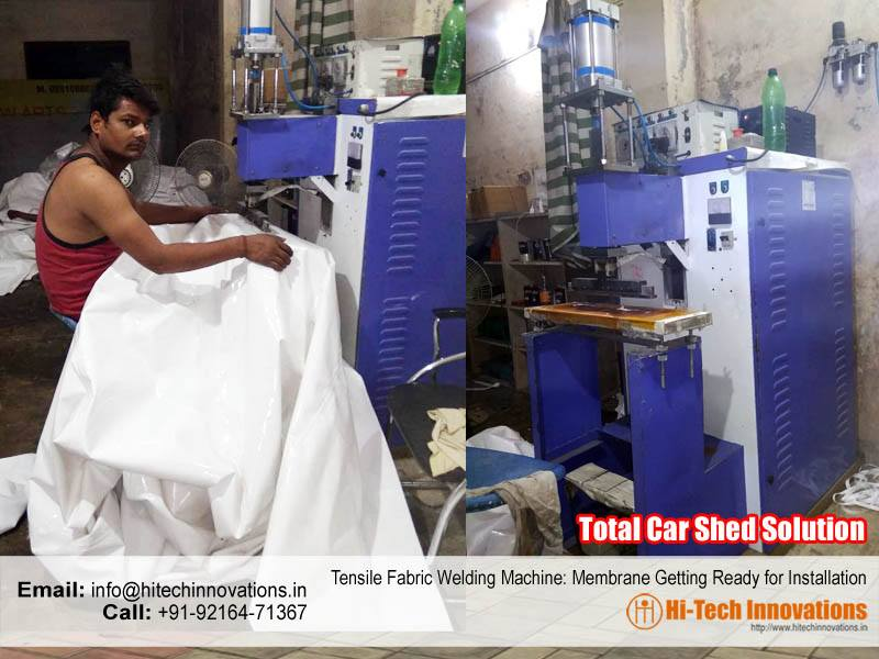 Tensile Fabric Welding Machine: Membrane Getting Ready for Installation