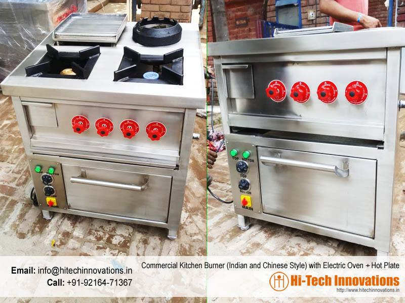 Commercial Kitchen Burner (Indian and Chinese Style) with Electric Oven + Hot Plate