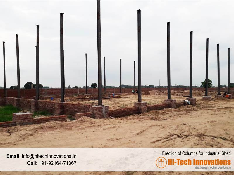 Erection of Columns for Industrial Shed