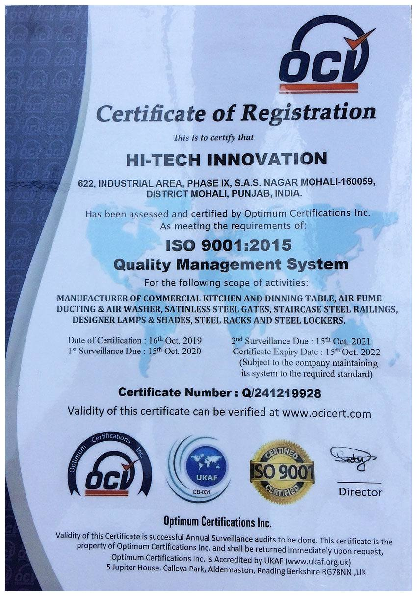 ISO 9001-2015 Quality Management System Certified