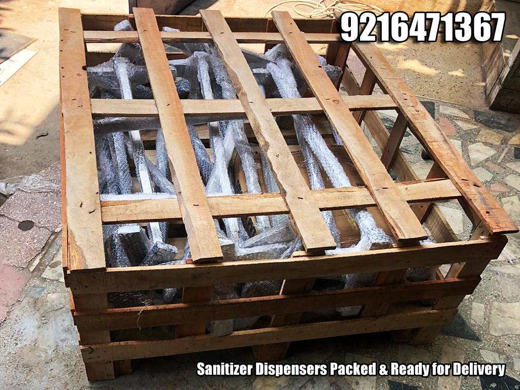 Sanitizer Dispensers Packed in Wooden Pallets