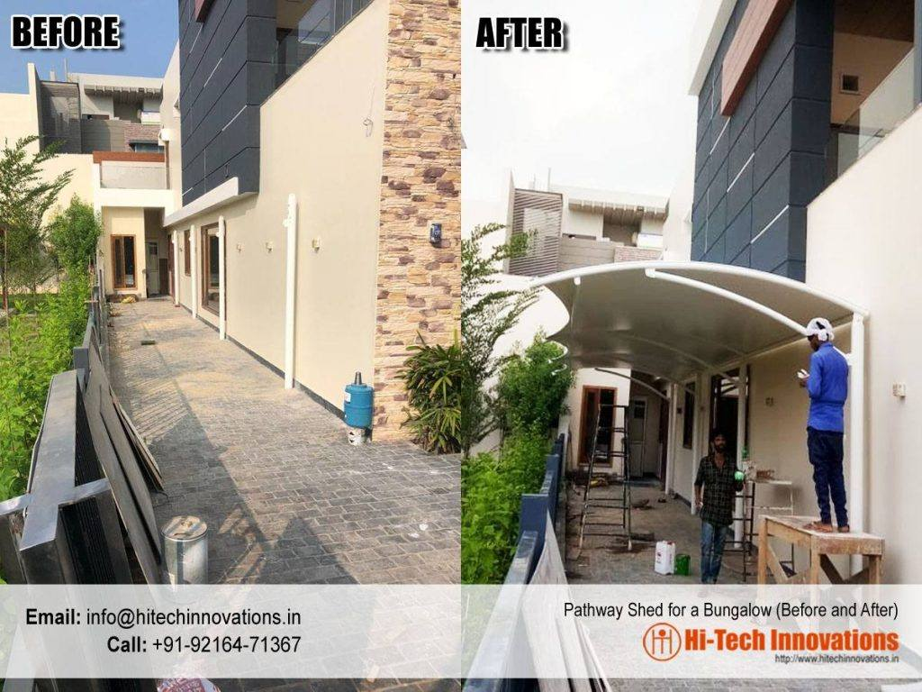 Pathway Shed for Bungalow Before and After