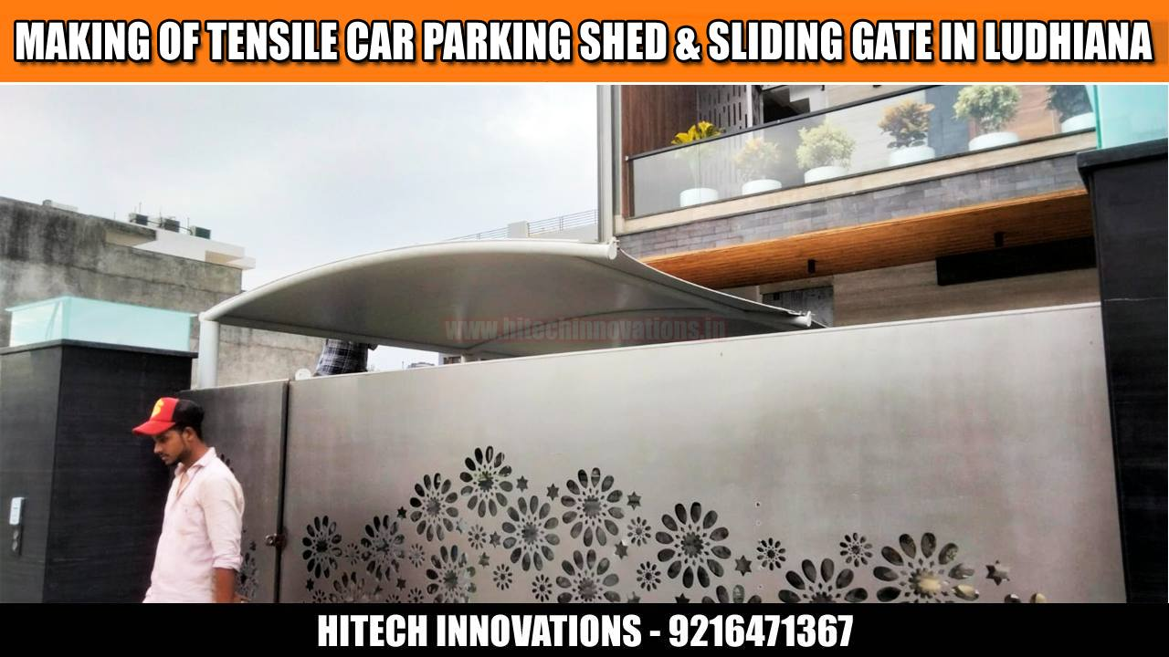 Car Parking Shed and Sliding Steel Gate in Ludhiana View Two