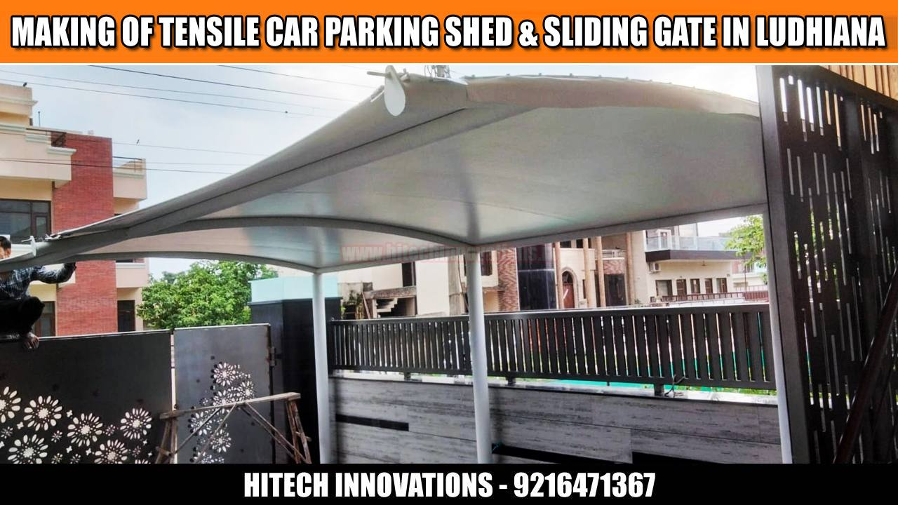 Car Parking Shed and Sliding Steel Gate in Ludhiana - View Three