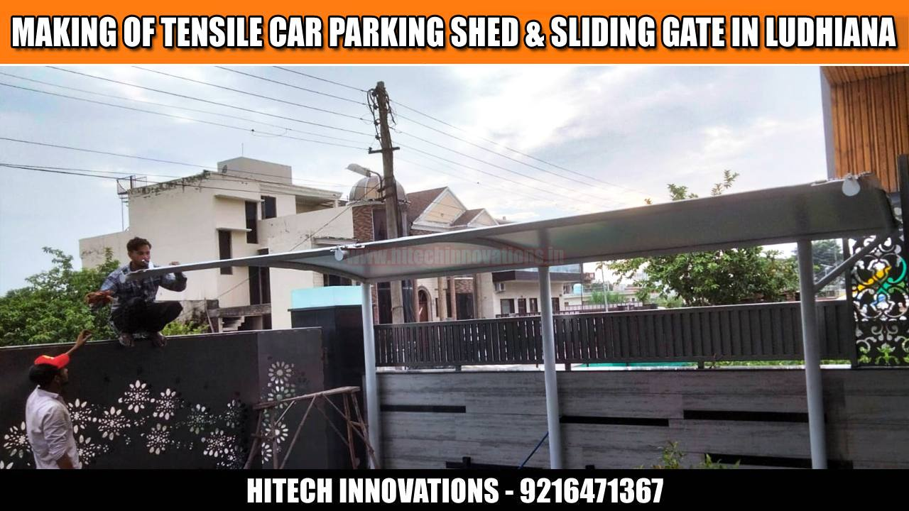 Car Parking Shed and Sliding Steel Gate in Ludhiana - View Four