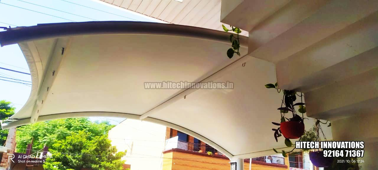 Tensile Car Shed for a Small Car Front View